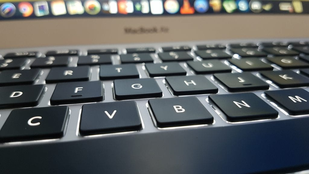 Close up on a MacBook Air keyboard
