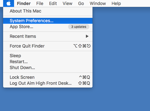 image showing where you can find system preferences via the Apple Icon in the File Menu Bar.