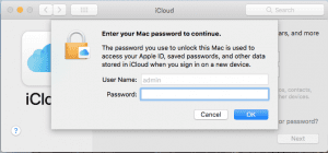 The window that asks for your user password when signing into icloud.