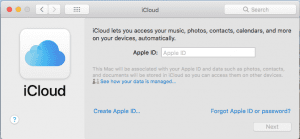 Image showing the sign into icloud window.