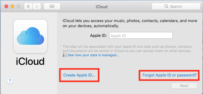 Image of the window that pops-up when you open iCloud settings.